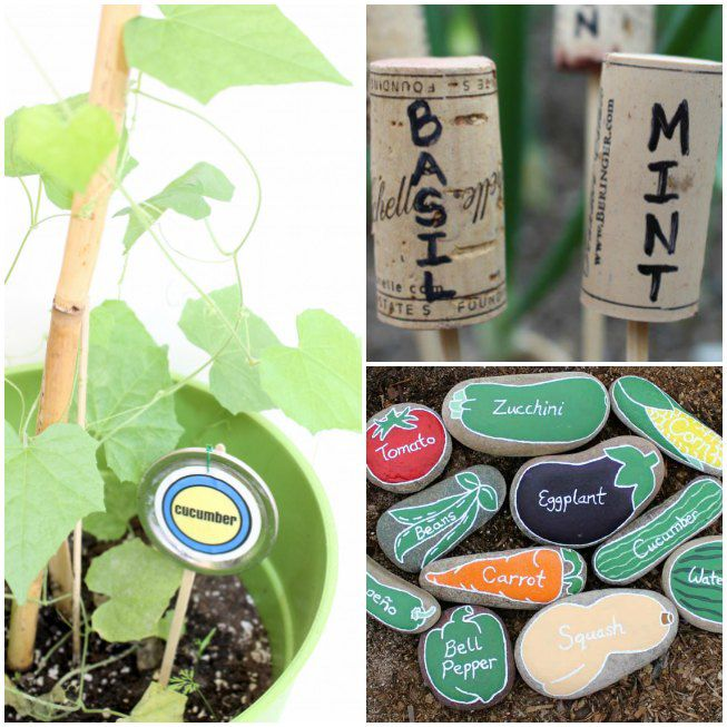 garden markers made from Mason jar lids, wine corks and rocks