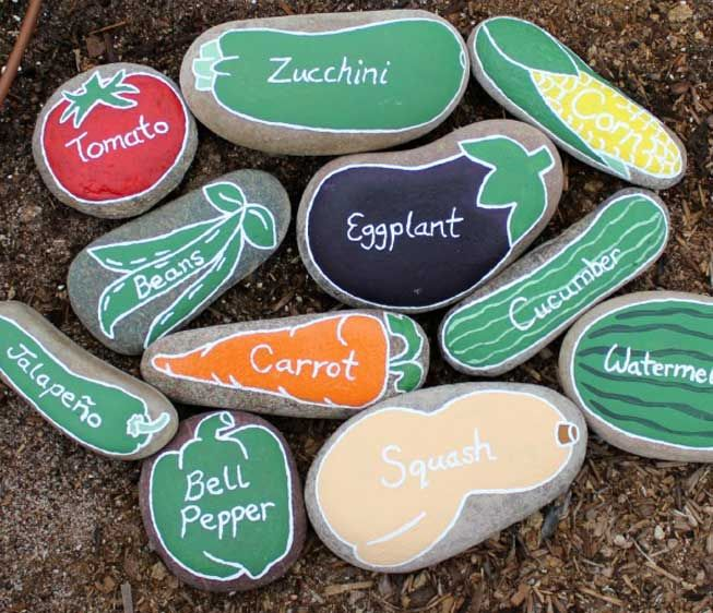Garden markers painted to look like vegetables