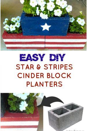 DIY Stars & Stripes Cinder Block Planters / grillo designs www.grillo-designs.com