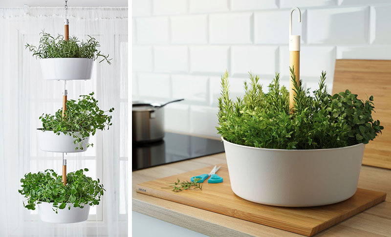 Indoor Garden Ideas - Hang Your Plants From The Ceiling & Walls // These planters hang from the ceiling and from each other making it easy to take down a single planter at a time to harvest your herbs and makes watering that much more convenient.