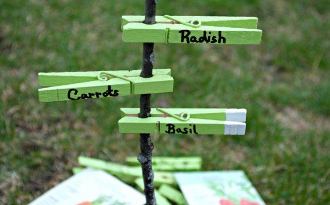 Clothespin garden marker