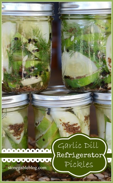 GARLIC DILL REFRIGERATOR PICKLES- so easy to make and scrumptious!- stonegable blog.com